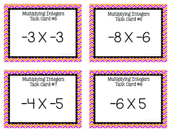 Integer Task Cards - Multiplication
