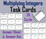 Multiplying Integers Task Cards 6th 7th 8th Grade