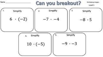 Multiplying Integers – Two Breakout Activities!