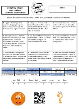 Multiplying Integers Word Problems Create the Riddle Activity
