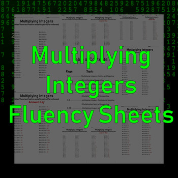 Multiplying Integers Fluency Sheets