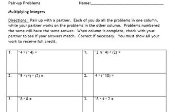 Multiplying Integers with a Partner