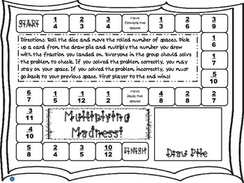 Multiplying Madness: Multiplying Fractions by a Whole Number Board Game