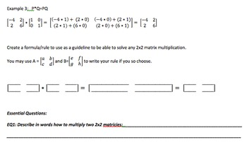 Multiplying Matrices Discovery Activity