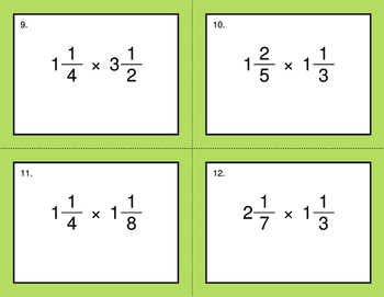 Multiplying Mixed Fractions - BINGO and Task Cards
