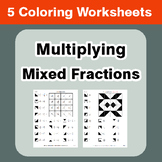 Multiplying Mixed Fractions - Coloring Worksheets