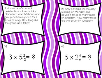 Multiplying Mixed Fractions with Whole Numbers Task Cards
