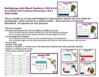 Multiplying Mixed Number Area Model Task Cards Fractional Dimensions SET C