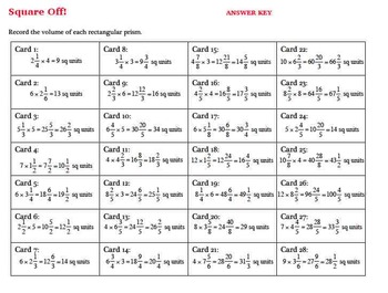 Multiplying Mixed Number Area Model Task Cards Fractional Dimensions Set A
