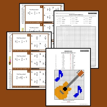 Multiplying Mixed Fractions Activity Coloring Mystery Pictures Task Cards