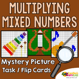 Multiplying Mixed Numbers Coloring Pages, Mystery Picture Cards