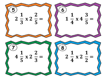Multiplying Mixed Numbers Task Cards 5.NF.6