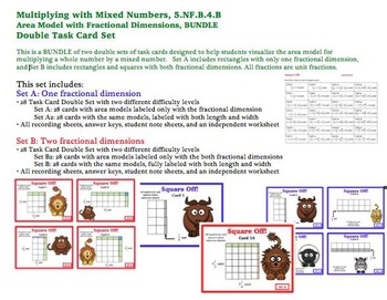 Multiplying Mixed Numbers Area Model Task Cards BUNDLE Fractional Dimensions