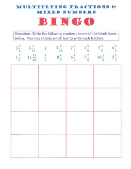 Multiplying Mixed Numbers Bingo by Donnell Shrewsbury | TpT