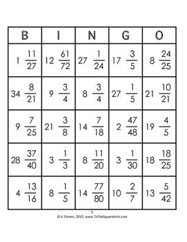 Multiplying Mixed Numbers Bingo