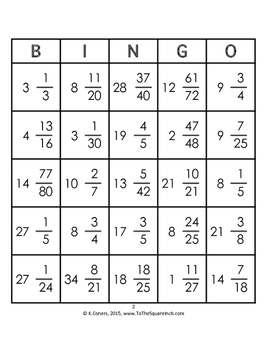 Multiplying Mixed Numbers Bingo