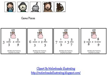 Multiplying Mixed Numbers Board Game - Wizard of Oz Theme