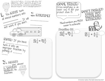 Multiplying Mixed Numbers - Doodle Note Brochure for Interactive Notebooks