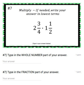 Multiplying Mixed Numbers (Google Form & Interactive Video Lesson!)