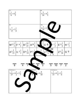 Multiplying Mixed Numbers - Joke Worksheet