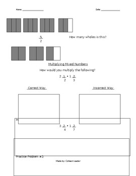 Multiplying Mixed Numbers Lesson Hand-out