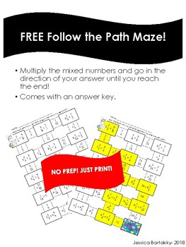 Multiplying Mixed Numbers Maze