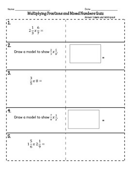 Multiplying Mixed Numbers Quiz