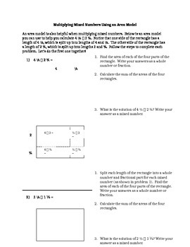 Multiplying Mixed Numbers Using an Area Model