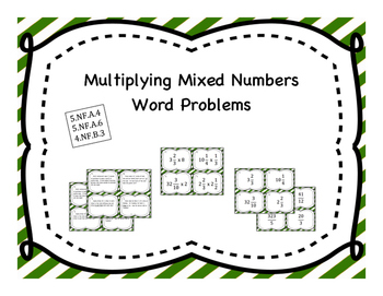 Multiplying Mixed Numbers Differentiated Word Problem Task Cards