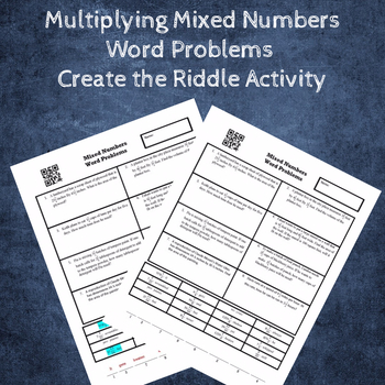 Multiplying Mixed Numbers Word Problems Create a Riddle Activity