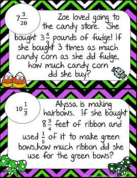 Multiplying Mixed Numbers Word Problems - Math Scavenger Quests