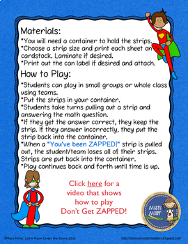 Multiplying Mixed Numbers Don't Get ZAPPED Math Game
