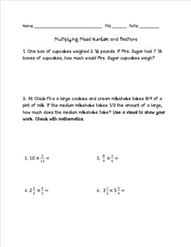 Multiplying Mixed Numbers and Fractions