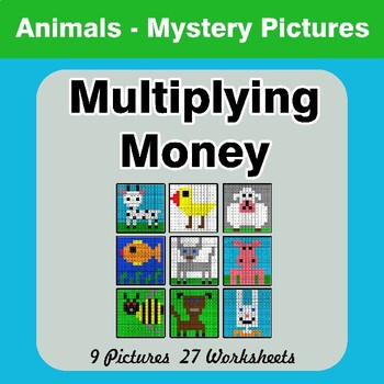 Multiplying Money - Math Mystery Pictures / Color By Number - Animals