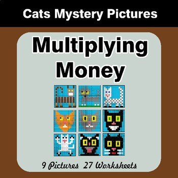 Multiplying Money - Math Mystery Pictures / Color By Number - Cats