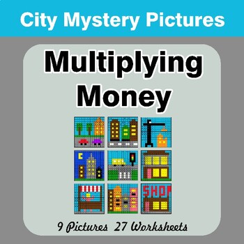 Multiplying Money - Math Mystery Pictures / Color By Number - City