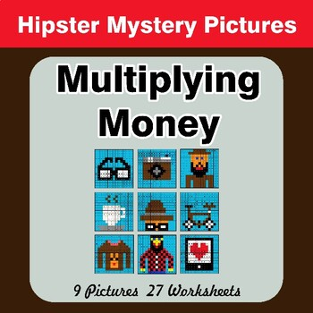 Multiplying Money - Math Mystery Pictures / Color By Number - Hipsters