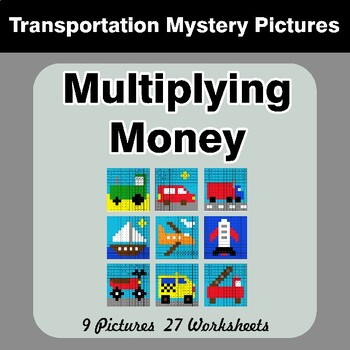 Multiplying Money - Math Mystery Pictures / Color By Number - Transportation