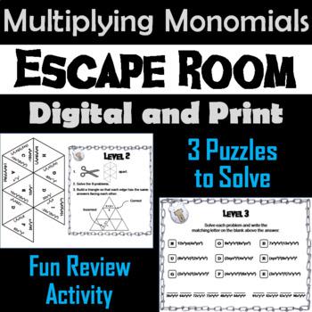 Multiplying Monomials Activity: Algebra Escape Room Math