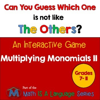 Multiplying Monomials - Can you guess which one? Game II