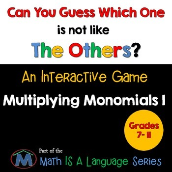 Multiplying Monomials - Can you guess which one? Game I