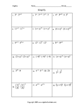 Laws Of Exponents Multiplying Monomials Challenge Worksheet  Tpt