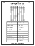Multiplying Monomials Number Puzzle Worksheet