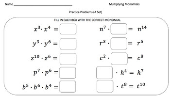 Multiplying Monomials - Practice Problems Crafted For Every Ability Level