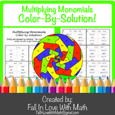 Multiplying Monomials (Product Rule) Color-By-Number!