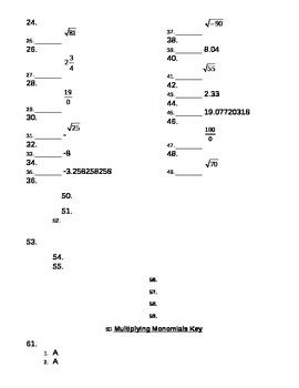 Multiplying Monomials Quiz with KEY
