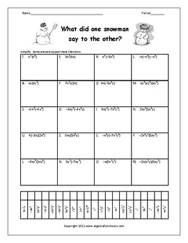 Multiplying Monomials Worksheet by Algebra Funsheets | TpT