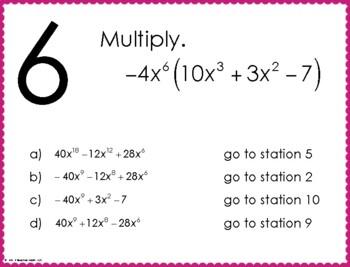 Multiplying Monomials and Binomials Stations Maze