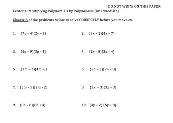 Multiplying Monomials and Polynomials FOIL Skills Centers