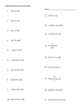 Multiplying Monomials by Polynomials Practice Worksheet by Richards8Math